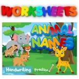 Animal Names Bundle Printable Flashcards, Writing Workbook