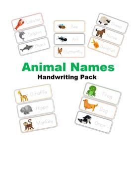 Animal Names Handwriting Pack