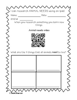 Animal Needs: QR code fun