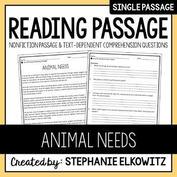 Animal Needs Reading Passage