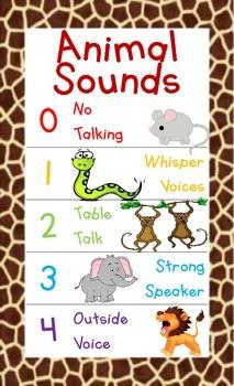 """""""Animal Noises"""" Noise Level Chart"""