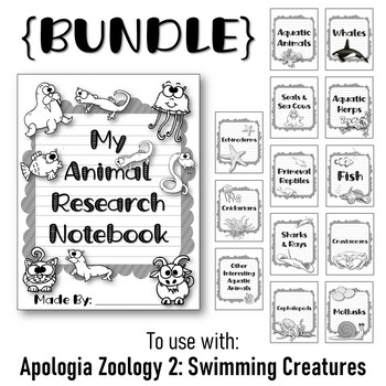 Animal Notebook {BUNDLE}  Research Templates. Apologia Zoology 2. Lessons 1-13