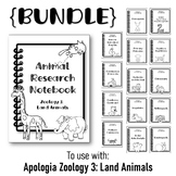 Animal Notebook {BUNDLE} Research Templates. Apologia Zool