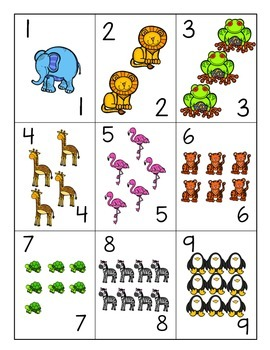 Animal Number Cards FREEBIE