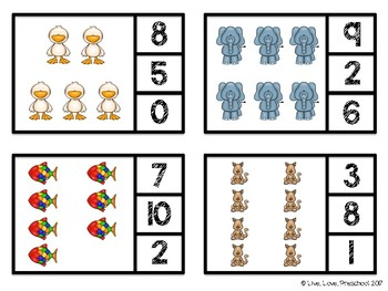 Animal Number Clip Cards