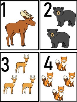 Animal Number Flash Cards to 20 in Color
