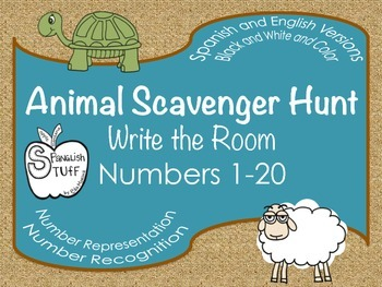 Animal Number Hunt: Write the Room