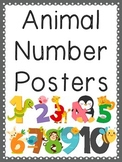 Animal Number Posters with Black and White Coloring Pages!