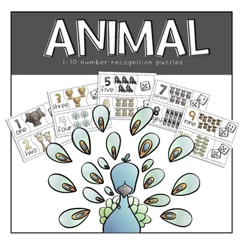 Animal Number Recognition Puzzles 1-10