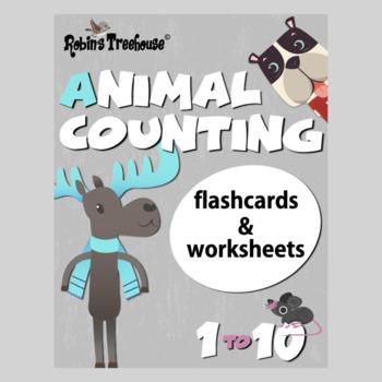 Super Cute Animal Number Flashcards 1 - 10