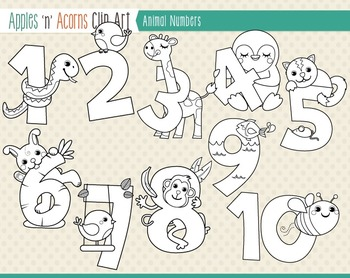 Animal Numbers Clip Art - color and outlines