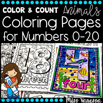 Count The Animals Numbers Coloring Pages 0 20 Distance Learning