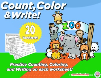 Animal Numbers - Count, Color, & Write! (Counting and Number Formation)