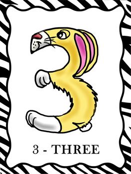 Animal Numbers Posters  -  0 To 9    (FIRST WEEK IS $2.50)
