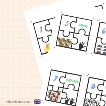 Animal Numbers Puzzles 1 to 10⎜Number Match Game⎜ Puzzles⎜Printable Game