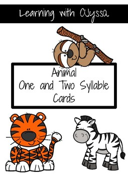 Animal One and Two Syllable Cards
