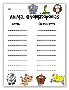Animal Onomatopoeia Activity