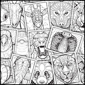Animal Op-Art - Templates, Reference, and Coloring Sheets