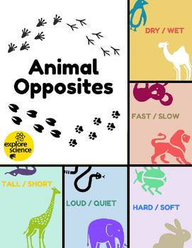 Animal Opposites Bundle: 5 Activity Kits (Ages 3-12, NGSS & CC)