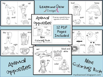 Animal Opposites Printable Coloring Book