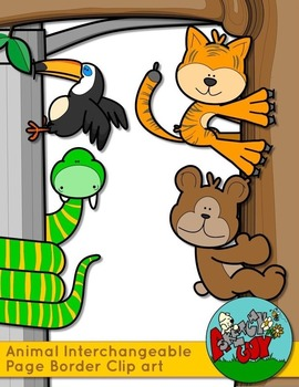 Animal Page Borders - Interchangeable Clip art