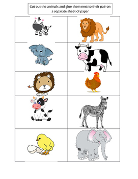 Animal Pairs Cut and Paste