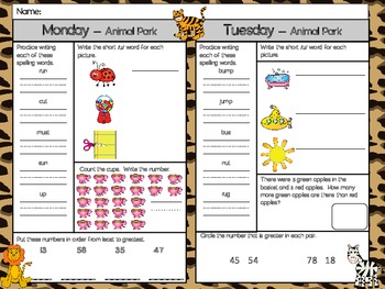 Animal Park Homework - Scott Foresman