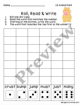 Animal Park Spelling Practice (Reading Street 1.1.6)