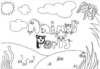 Animal Parts Coloring Book, hand drawn