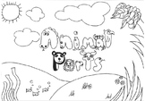 Animal Body Parts Coloring Pages, hand drawn