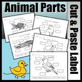 Animal Parts Cut & Paste Worksheet Set (Mammal, Fish, Rept