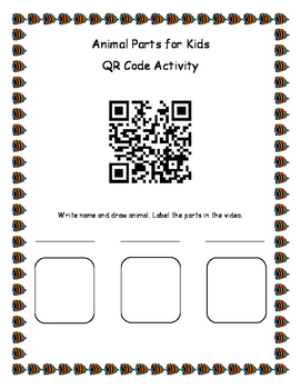 Animal Parts for Kids QR Activity