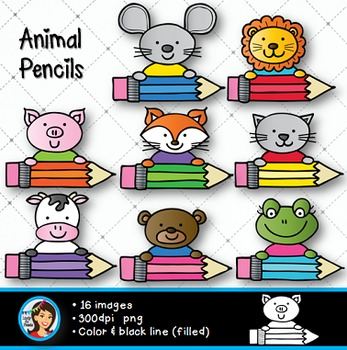 Animal Pencils Clip Art