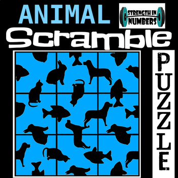 Animal Pets 3x3 SCRAMBLE Puzzle for Early Finishers