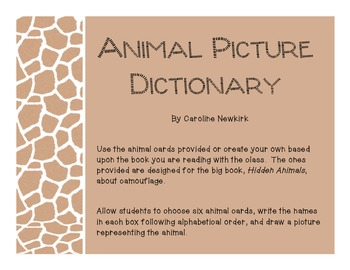 Animal Picture Dictionary Alphabetizing