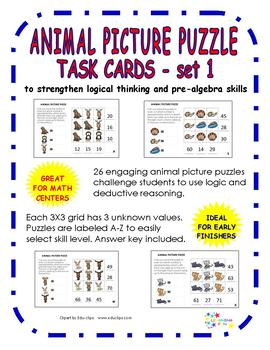 Animal Picture Puzzle Task Cards 1