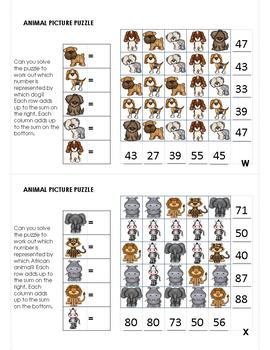 Animal Picture Puzzle Task Cards 2