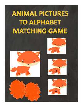 Animal Pictures To Alphabet Matching Game