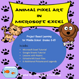 Animal Pixel Art in Microsoft Excel or Google Sheets