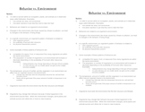 Animal & Plant Behavior and Their Environment Student Notes