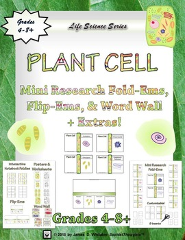 Animal & Plant Cell Interactive Research Fold-Ems, Flip-Ems, Word Wall Bundle