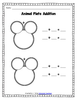 Animal Plate Math-Counting, Part-Part-Whole, Addition, Fact Families