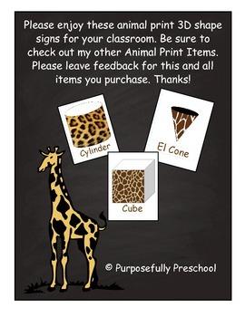 Animal Print 3D shapes