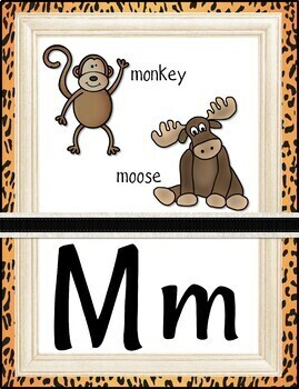 Animal Print Alphabet Posters - Pictures and Words