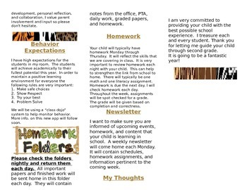 Animal Print Back to School Informational Flyer- Editable