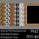 Animal Print Backgrounds and Wild Side Borders, 8.5 x 11, 12 x12, 300 dpi PNG