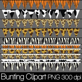 Animal Print Banners/Bunting Clip Art PNG 300 dpi
