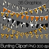 Animal Print Banners/Bunting Clip Art PNG 300 dpi