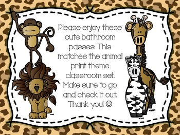 Animal Print Bathroom Passes