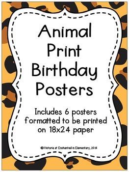 Animal Print Birthday Posters
